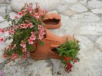 un originale vaso per fiori - interno Baglio Isonzo - 23 maggio 2011  - Scopello (1009 clic)