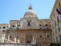 Piazza Pretoria - particolare della fontana, Chiesa di Santa Caterina e Palazzo Pretorio - 6 agosto