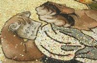 Infiorata 2010 - Bozzetti ispirati al tema: Musica dipinta: le forme e i colori della musica - LO STUDIOLO - particolare - Via Nicolaci - 16 maggio 2010   - Noto (2056 clic)