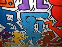 TRILOGIA D'AUTORE - TUTTO MONDO (particolare) - omaggio a Keith Haring (1958 - 1990) - a cura del prof. Giuseppe Monticciolo ed alcuni suoi alunni - I.C. G. Pascoli - 10 giugno 2011  - Castellammare del golfo (751 clic)
