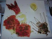 antipasto - alici primavera, gamberi marinati e carpaccio di tonno con tartufo - da Liborio - 25 dicembre 2010  - Castellammare del golfo (1607 clic)