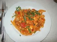 busiate con ricotta, pomodorini, salsiccia e melanzana - Busith - 26 settembre 2010  - Buseto palizzolo (2558 clic)
