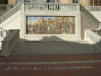 scalinata e mosaico in maiolica policroma nella piazza della Chiesa Santa Maria del Monte - 4 dicembre 2010  - Caltagirone (2379 clic)
