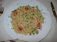 busiate con uova di pesce San Pietro, pomodorini e gamberi - La Cambusa - 17 ottobre 2010  - Castellammare del golfo (3318 clic)