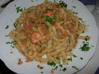 busiate con uova di pesce, gambero rosso, bottarga e pomodorino - La Cambusa - 18 luglio 2010  - Castellammare del golfo (4885 clic)