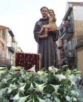 Catenanuova (EN), 13 giugno 2007 Festa di Sant'Antonio di Padova, particolare del Santo sul fercolo addobbato di candidi gigli.  - Catenanuova (1880 clic)
