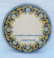 Tavolo in pietra lavica decorato barocco  con fondo blu  codice-TD307  - Santo stefano di camastra (2471 clic)