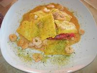ravioli di cernia con crema di pistacchi e gamberi - La Torre di Nubia - 16 luglio 2012  - Nubia (3367 clic)