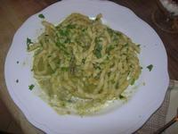 busiate con punte di asparago (asparago, aglio, prezzemolo, pancetta) - Due Palme - 25 marzo 2012  - Santa ninfa (1104 clic)