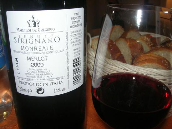 SIRIGNANO - Agriturismo - bottiglia e bichiere di vino - MONREALE - inserita il 20-Oct-14