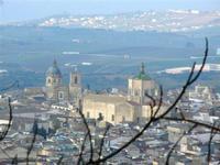 panorama dal Monte Bonifato - scorcio della città - Basilica Santa Maria Assunta e Chiesa del Gesù (Collegio) - 11 marzo 2012  - Alcamo (982 clic)