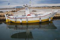 Saline e Imbarcadero Storico per l'Isola di Mozia - barca e riflessi - 29 gennaio 2012 - foto di Nicolò Pecoraro  - Marsala (547 clic)