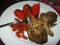 antipasto: carciofi, peperoni e pomodorini - Baglio Arcudaci - 1 aprile 2012  - Bruca (1039 clic)