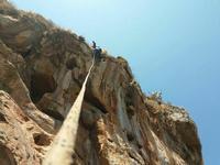 Gruppo di speleologi Salita con croll, maniglia, e piede sulla staffa  - Sferracavallo (1178 clic)