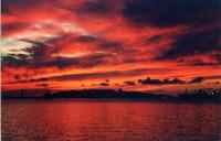 Splendido tramonto! 14 ottobre 2004, tutto si tinge di rosso... quella che si vede sullo sfondo è l'isola di Favignana  - Trapani (3541 clic)