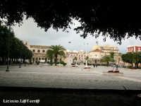 Uno scorcio tra i secolari alberi di Piazza S. Lucia, sullo sfondo a sinistra la Chiesa e a destra il Sepolcro, simboli della Borgata  - Siracusa (2615 clic)
