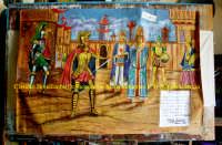 Cartellone d'epoca di uno spettacolo della compagnia Marionettistica dei F.lli Napoli. I Fratelli Napoli operano ininterrottamente nel campo dell'Opera dei Pupi sin dal 1921 quando il nonno Don Calogero comprò i pupi (costruiti qualche decina d'anni prima) da un'altra compagnia. I loro spettacoli sono apprezzati in varie parti sia d'Italia che del mondo. Foto pubblicata con la concessione della Marionettistica F.lli Napoli di Catania.  - Catania (1702 clic)