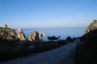faraglioni, torri di avvistamento e viale che porta alla tonnara - 3 marzo 2008  - Scopello (859 clic)