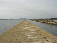 Riserva delle Isole dello Stagnone di Marsala - Imbarcadero per l'Isola di Mozia; all'orizzonte le Isole Egadi - 17 febbraio 2007   - Marsala (1571 clic)