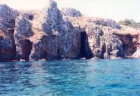 un tratto di costa rocciosa, tra Castellammare e Scopello - 17 agosto 1986  - Castellammare del golfo (1323 clic)