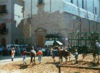 Festeggiamenti in onore di Maria Santissima dei Miracoli - La corsa dei cavalli - La partenza nel Corso 6 Aprile, dinanzi a Piazza Ciullo e la Chiesa di Sant'Oliva - 19 giugno 1995  - Alcamo (1469 clic)
