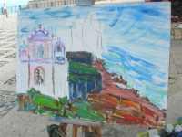 Piazza Petrolo - Luci e colori di Castellammare IV Estemporanea di pittura En plain air - Opera alla quale sta lavorando la pittrice Aida Vivaldi - 20 settembre 2009   - Castellammare del golfo (2737 clic)