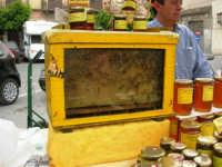 Mercato in Piazza della Repubblica - dal produttore al consumatore - la bancarella del miele, con alveare - 18 maggio 2008  - Alcamo (1156 clic)