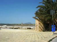 Riserva delle Isole dello Stagnone - imbarcadero per l'isola di Mozia, saline Infersa e mulini a vento - all'orizzonte il monte Erice - 25 maggio 2008   - Marsala (926 clic)