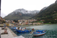 vista dal porto della città e del monte Inici innevato - 14 febbraio 2009  - Castellammare del golfo (1888 clic)