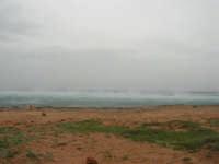 Macari - Golfo del Cofano - il forte vento di scirocco spazza il mare e solleva mulinelli d'acqua che partono dalla riva e si allontanano velocemente verso il largo - 29 marzo 2009  - San vito lo capo (1695 clic)