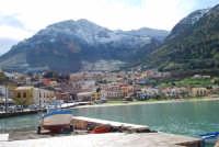 vista dal porto della città e del monte Inici innevato - 14 febbraio 2009  - Castellammare del golfo (1483 clic)