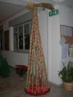 un particolare albero di Natale, costruito con canne, nell'androne dell'Istituto Comprensivo A. Manzoni - 20 dicembre 2007  - Buseto palizzolo (3161 clic)