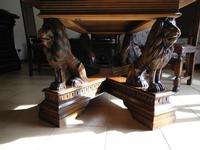 Tavolo in noce sorretto da quattro leoni-DSCN0675 Il mio tavolo da pranzo.  - Montagnareale (4593 clic)