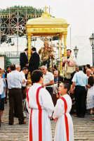 Festa della Madonna del Rosario (11.07.2005) - Il fercolo della Madonna sosta sul sagrato della Chiesa prima di essere condotto in processione.  - Fleri (6395 clic)