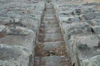 Piccolo teatro greco del III-II sec. a.C. Cavea rivolta verso il mare; 11 cunei con 28 gradini. Diametro originario di 63 metri. Particolare dei gradini  - Tindari (4151 clic)