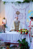Il Sacerdote mostra solennemente il Sacro Corpo di Cristo all'assemblea dei fedeli  - Catenanuova (5373 clic)