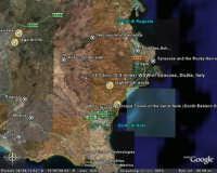 FOTO SATELLITARE PANORAMICA AMPIA IN DIREZIONE LAGHETTI AVOLA  - Cava grande del cassibile (12791 clic)