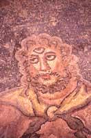Particolare del ciclope Polifemo, mosaico che raffigura la scena omerica fra Ulisse e i compagni nell'antro di Polifemo.  - Villa romana del casale (11461 clic)