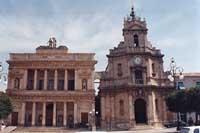Teatro Comunale e  Chiesa della Madonna delle Grazie in Piazza del Popolo VITTORIA Giambattista Sci